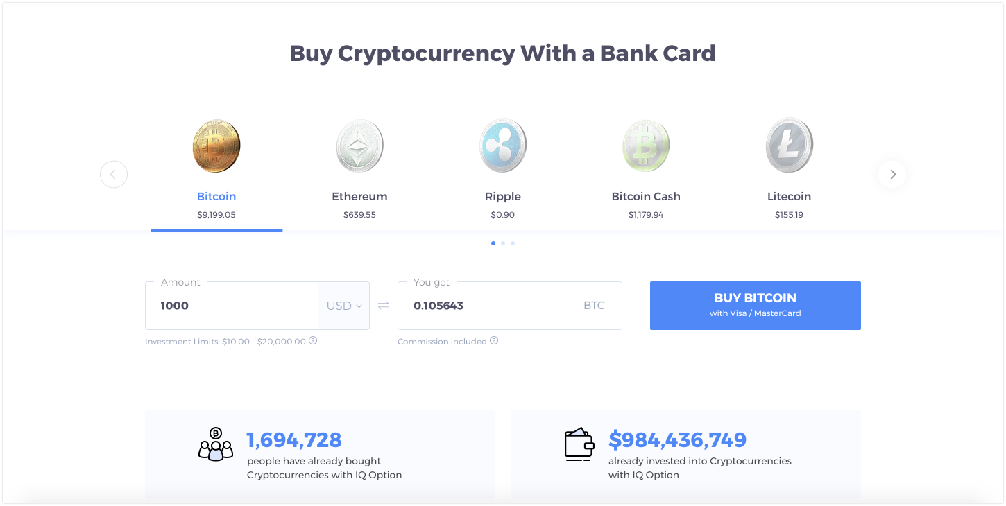 Buy cryptocurrency with bank card