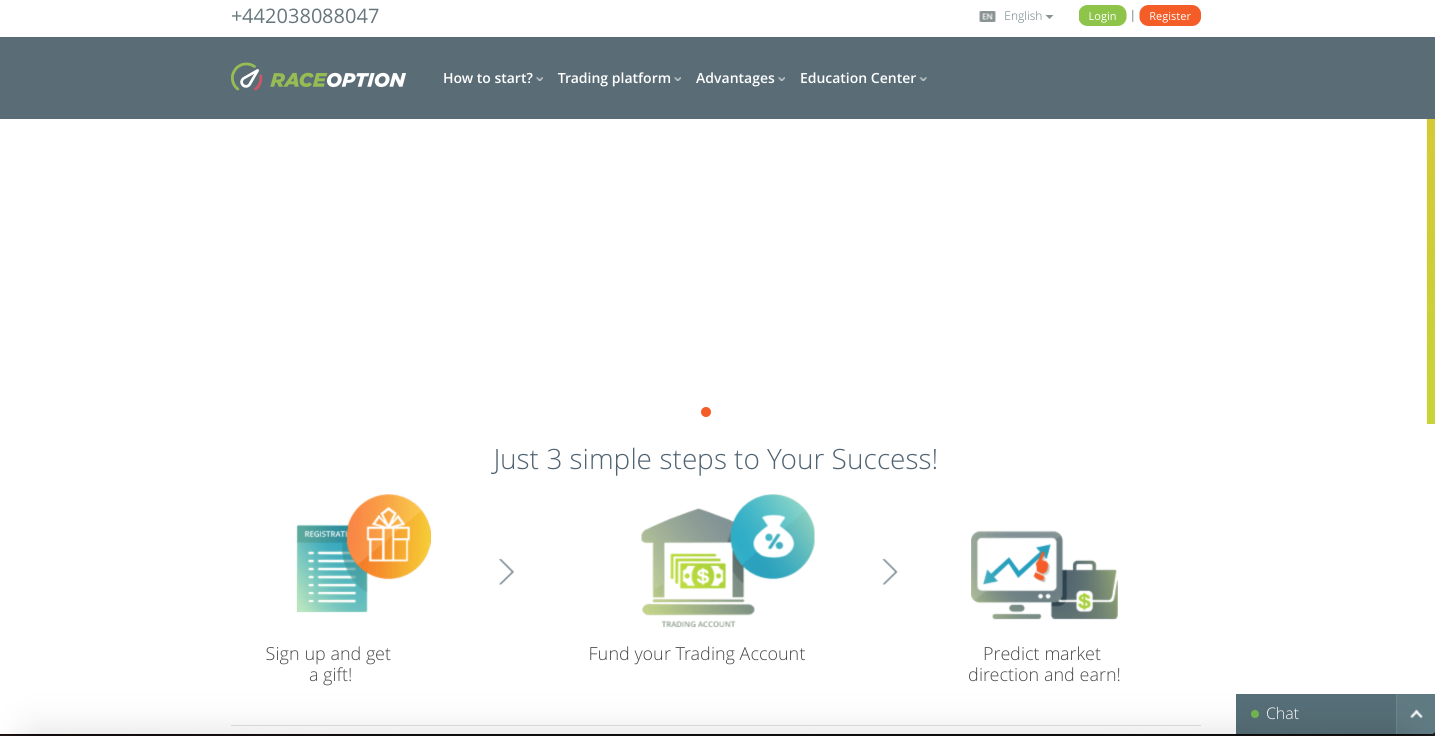 Raceoption - Binary Options and CFD Broker - Trading Platform