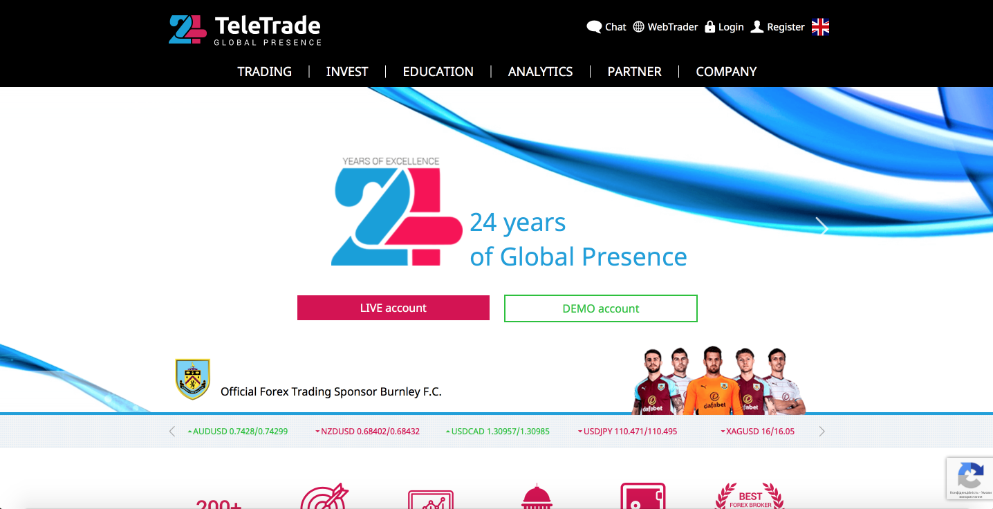 24 years of remarkable global presence - TeleTrade | Official Forex Trading Sponsor of Burnley F.C.