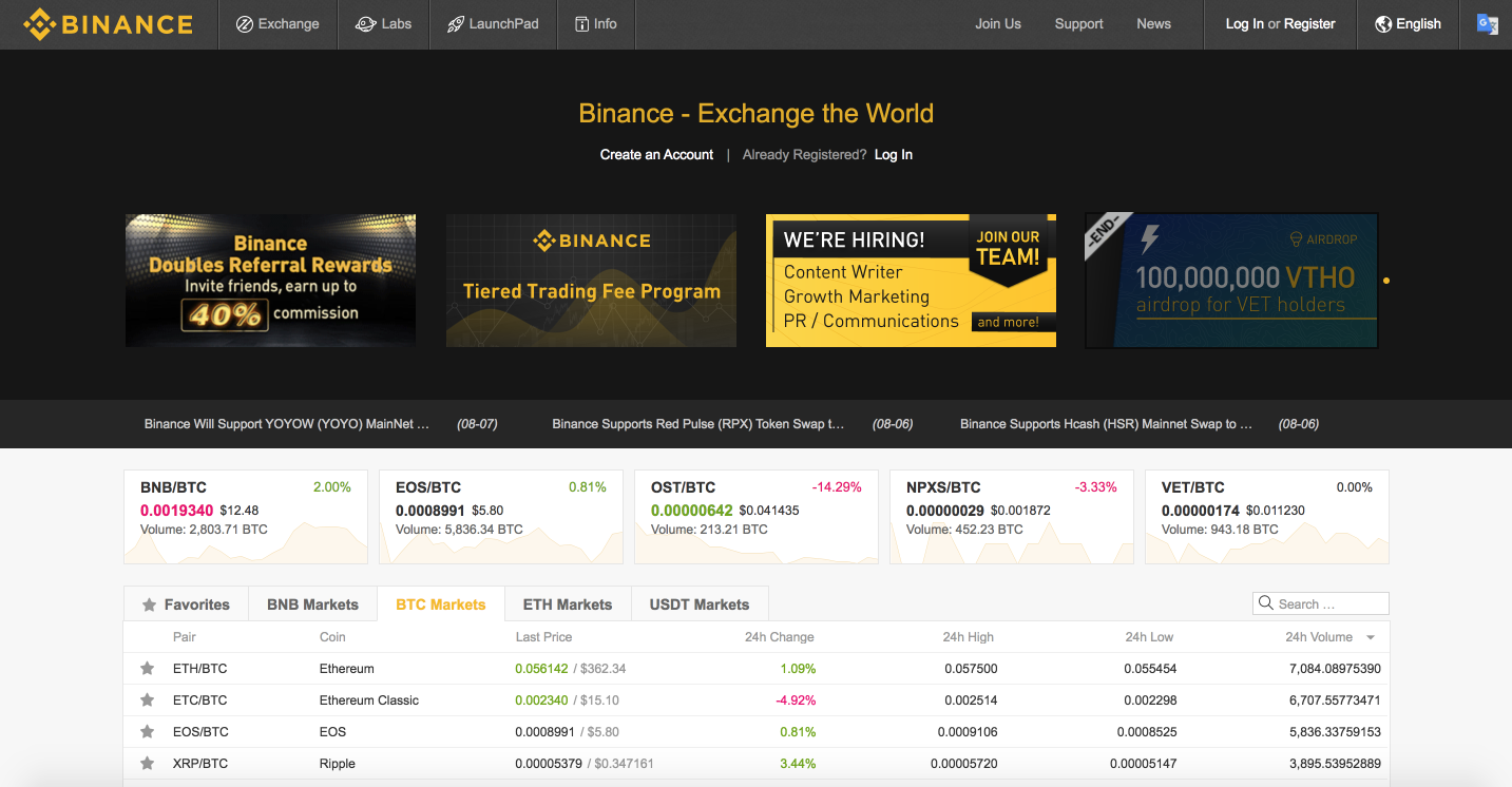 Binance - Blockchain and Crypto Asset Exchange
