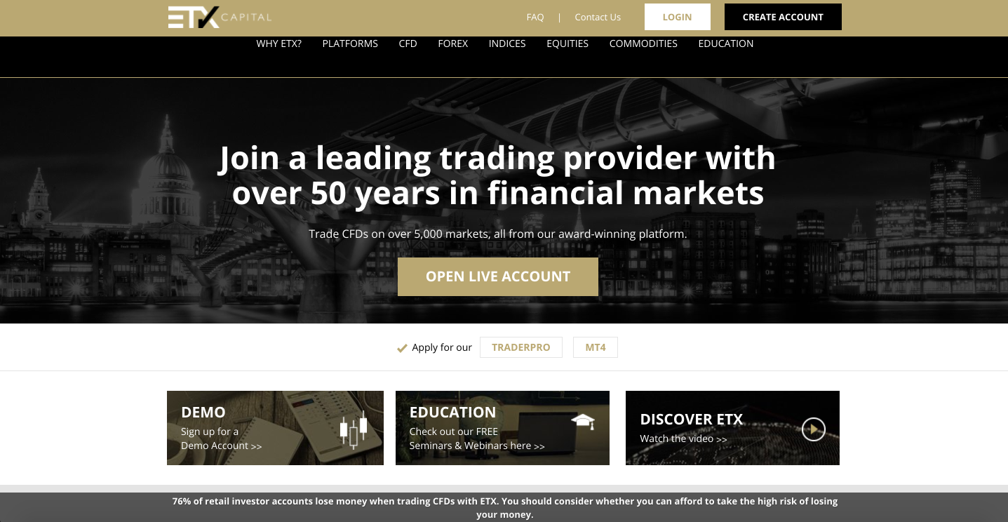 Forex, Indices, Commodities & CFD Trading | ETX Capital