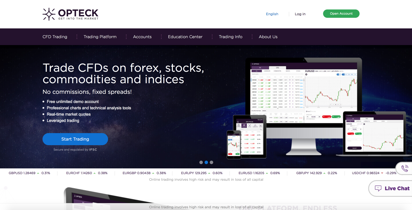 Opteck Online Trading Platform CFD and Forex