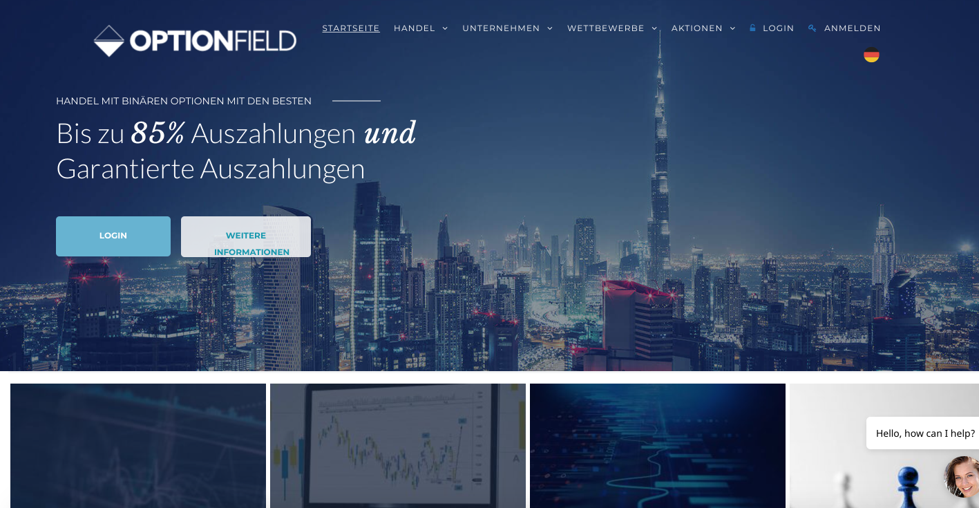 Optionfield-MT4 binäre Optionen Handel mit einem globalen Broker