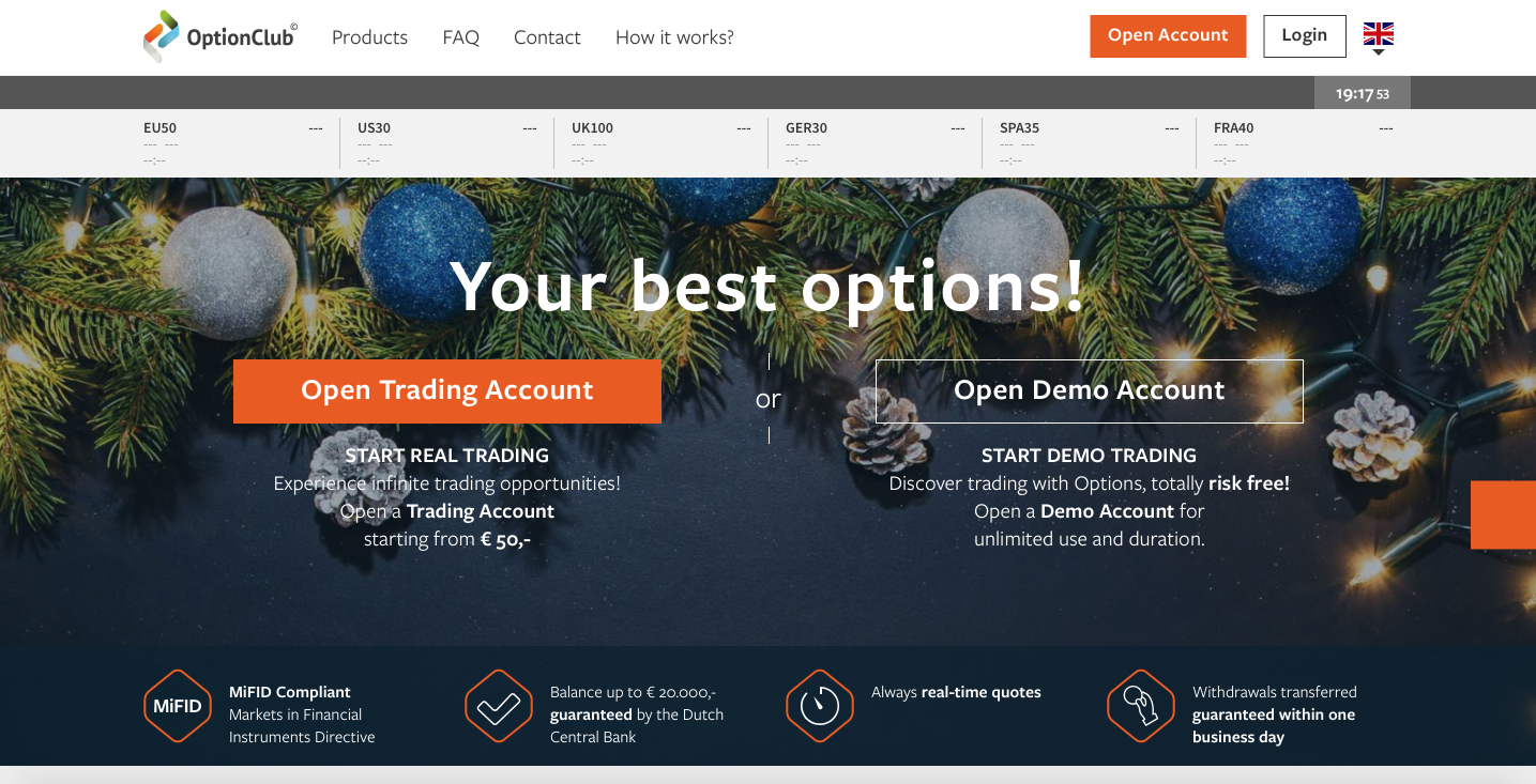 OptionClub – Netherland high/low options trading platform review