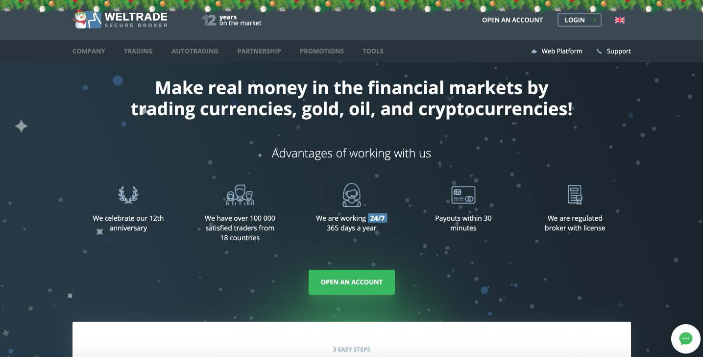 Weltrade – forex trading platform with ability to trade cryptocurrency