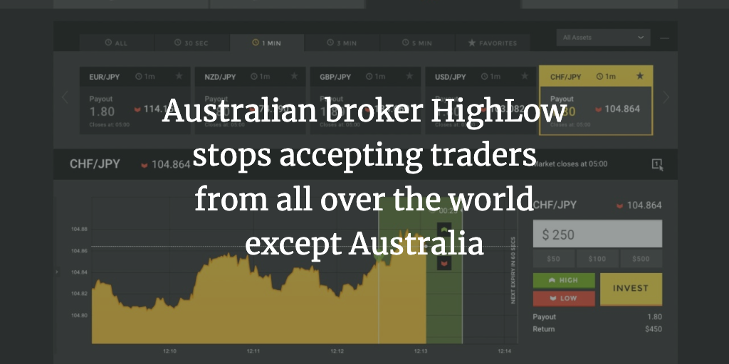 Australian broker High Low stops accepting traders from all over the world except Australia