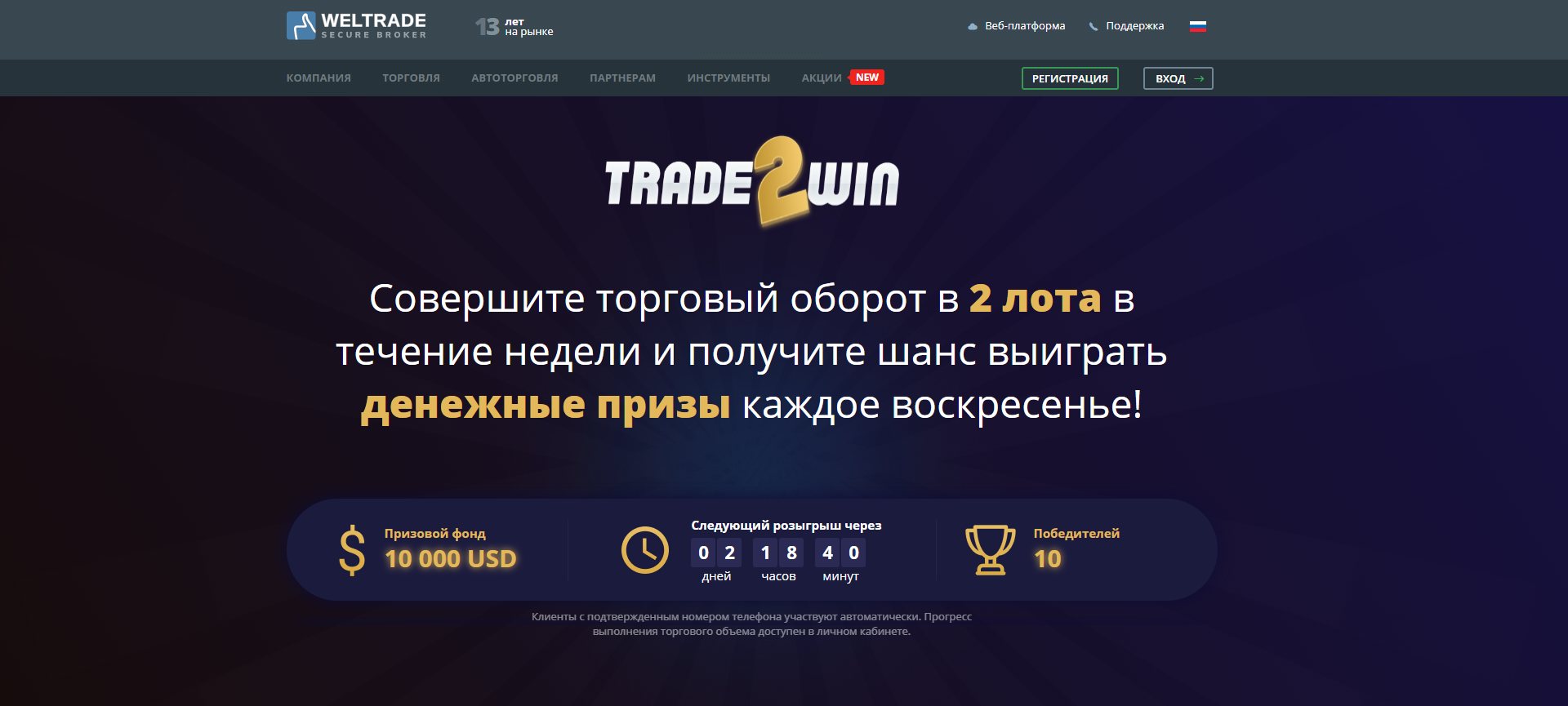 Promotion for traders TRADE2WIN from WELTRADE. $10 000 prize pool every week